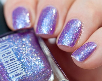 Oahu// Handmade Purple Color Shifting Nail Lacquer//Sterling Silver Flake//Cruelty Free