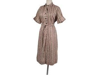Vintage 60s Dress - 60s Day Dress - Red Blue Yellow Green - 60s Shirtwaist Dress - XL Dress - XXL Dress - Ethnic Print - Striped Dress