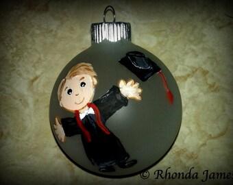 Graduation Gift, Keepsake High School College Kindergarten Christmas Ornament Decor Hand Painted Original Art Personalized Girl or Boy