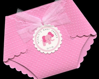 Baby Shower Invitations - Baby Girl Baby Shower Invitations - Baby Girl Shower Invitations - Diaper Invitations - Pink - Elephant