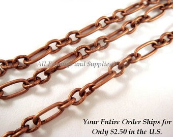 5ft Antique Copper Mother Son Figaro Chain Not Soldered - 5 ft - STR9010CH-AC5