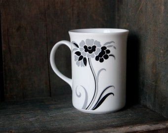 Regal Heritage - Bone China Mug - Coffee - Tea - Made in England - White with Grey and Black Florals