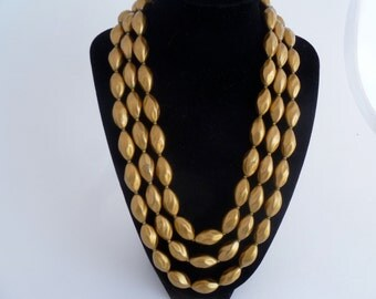 "Golden necklace, 3 strand golden bead necklace -  matching clip-on earrings - 1950s jewelry, 20"" necklace, FREE SHIPPING"
