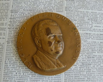 Nixon Inaugural Coin Paperweight, Richard Nixon,  Presidential Memorabilia, Nixon souvenir, Ralph Menconi, U.S. President, bronze coin