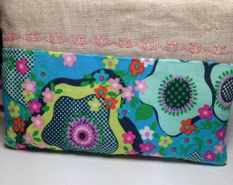 Embroidered Zipper Pouch Floral Zipper Pouch Makeup Pouch Makeup Bag Cosmetic Bag Coin Purse Change Purse Peace Flower Amy Butler Glow
