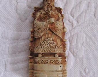 Carved Chinese Figurine . Chinese Folk Art Figurine . Carved Figurine