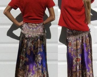 Pleated Cobalt Paisley Skirt . pleated skirt . paisley skirt