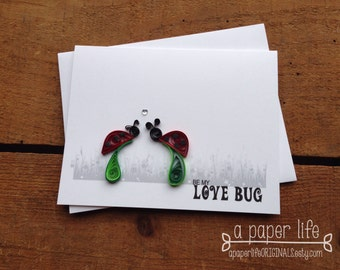Quilled RED LADYBUG Card - be my love bug // valentine's // anniversary // wedding