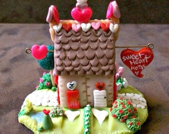 Sweetheart Hotel Miniature One-of-a-Kind Hand Sculpted Whimsy House Fairy Home Tiny Handmade Faerie House