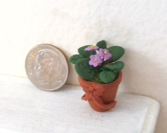 Miniature Lavender African Violets in a Sculpted Faux Terracotta Pot with a Sweet Bow Dollhouse Scale Garden Decor