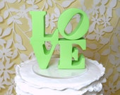 Pale green love cake topper ready to ship