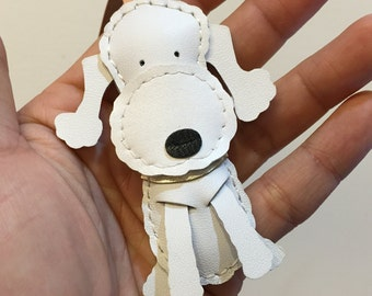 Special Offer - Ready Stock - Small size - Quincey the Bellington Terrier cowhide leather charm ( White )