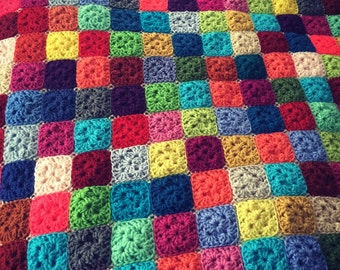 Tiny Squares Granny Square Knit Throw Blanket Bright Multicolor