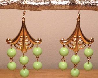 Green chalk turquoise, brass dangle earrings