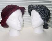 Hand made crochet elegant red/black gray melange hat