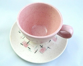 SALE Mid-Century Vernon Tickled Pink Cup and Saucer Set