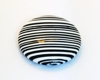 SALE - X-Large Black & White Striped Disk Bead