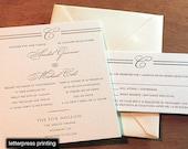 Park Avenue Letterpress or Digital Wedding Invitations - Set of 100