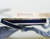 """3/8"""" Navy Blue with Gold Edge Grosgrain Ribbon 5 yards"""
