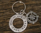 SALE***15% off***use Coupon Code FORFUN15 Hand Stamped Metal Compass Keychain Key Ring Quote You're My True North Message in a Bottle