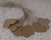 30 kraft card heart shaped strung tags party gift baby shower wedding favors  1.1/2 inches x 1.hand made