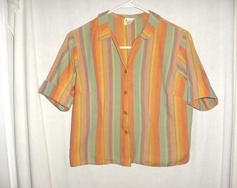 Vintage 60s Ladies Orange and Green Stripe Blouse Short Sleeve 15/16