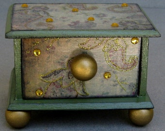 Olive Paisley Enchanted Little Drawer Trinket Box