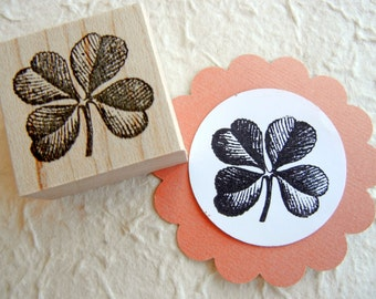 Four Leaf Clover Shamrock Rubber Stamp // St. Patricks Day  -  Handmade by BlossomStamps