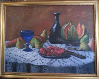 Beautiful Vintage Still Life Oil Stunning Framed to hang colors 24 x 18 Signed