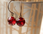 Ruby Red Vintage Earrings, Red Rhinestones, Brass Earrings Vintage Jewel Earrings Estate Style, Holiday Gifts for Her