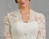 Catherine |Button Back Lace Wedding Bolero in Larger Sizes