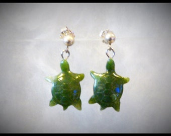 Great looking Siberian Jade Earrings, one of a kind and handcrafted.