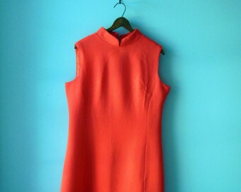 The sporting tailors dress • 1960s orange dress • vintage 60s orange shift dress