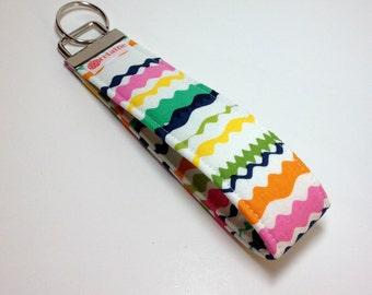 Colorful ric-rac keychain, key fob, key wristlet, key holder.