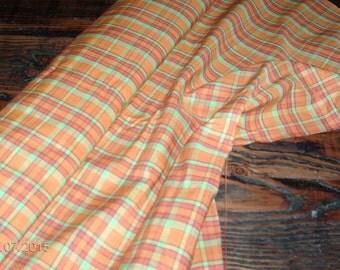 1960's Yardage!! orange,hot pink and lime green plaid