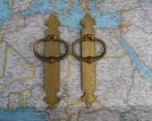 SALE! 2 vintage brass metal open pull handles with slim trimplates