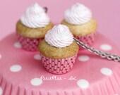 Pink Strawberry Cupcake Necklace, Miniature Food Jewelry