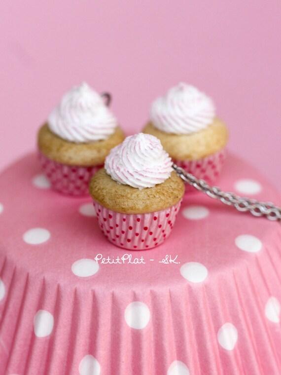 Pink Strawberry Cupcake Necklace Miniature Food by PetitPlat