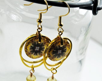 golden tribal compass earrings, resin earrings, gifts for her, gifts under 20