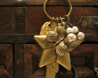 Charm Necklace, Wing Necklace, Nature Inspired,  Wishing Star, Brass Wing, Pearls, Butterfly, Butterflies, Woodland,  Bohemian Jewelry, Boho