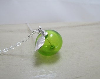 Sterling Silver Apple Necklace-Green Apple Necklace-Apple Jewelry-Glass Green Apple Necklace