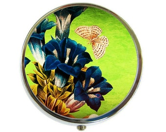 Gentiana butterfly Pill Box Stash Case Silver