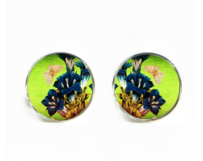 Gentiana Flower Butterfly small post stud earrings Stainless steel hypoallergenic 12mm Gifts for her