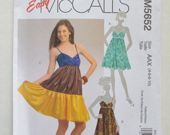 2000s UNCUT Easy McCall's Sewing Pattern M5652 Womens Knee Length Sundress or Maxi Dress w/ Shoulder Straps & Ruffle Hem Size 4-6-8-10