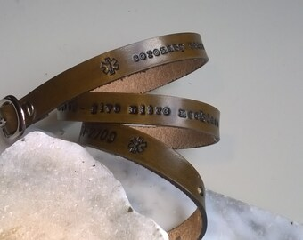 Custom Medical Alert Triple Wrap Wristband With Buckle Closure
