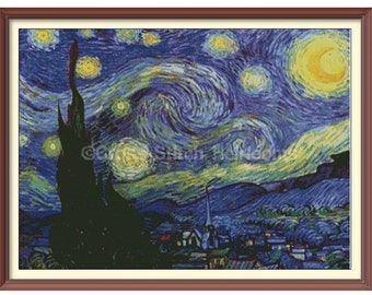 Van Gogh's Starry Night Cross Stitch Pattern