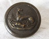 Antique Silver Hunt Club Dog & Rabbit BUTTON