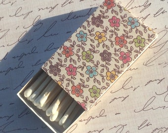 10 Matchbox Wedding Favors Cream Brown red blue green floral vintage whimsical daisy yellow vine