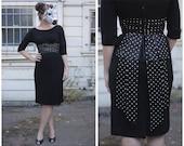 Vintage 60's Black Wiggle Dress with Polka Dot Waistband and Back Bow | Small