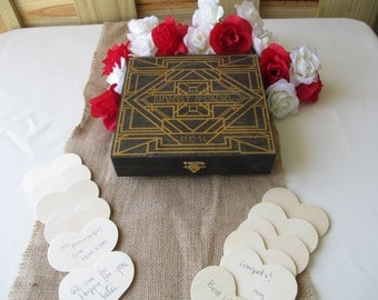 Wedding Guest Book Alternative Engraved Art Deco Gatsby Style Wood Box Personalized Set for 50 guests - Item 1651